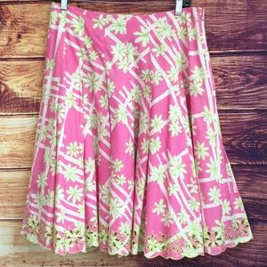 Lily Pulitzer Pink Floral Pleated Skirt